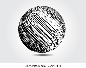 Abstract striped sphere.Vector globe design.