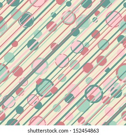 Abstract stripes and circles retro seamless pattern.
