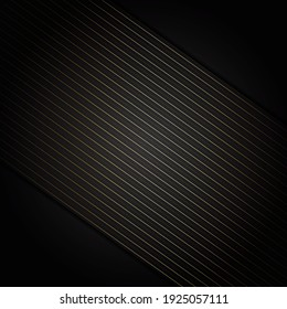Abstract stripes golden lines diagonal overlap on black background. Luxury style. Vector illustration