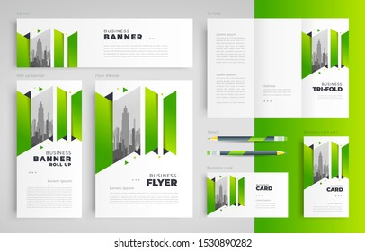 Abstract stripes green Set flyer cover, tri-fold, banner, roll up banner, business card