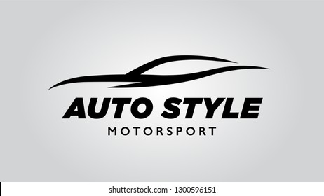Abstract style auto super car logo design with concept motor sports vehicle icon silhouette on light gray background. Vector illustration