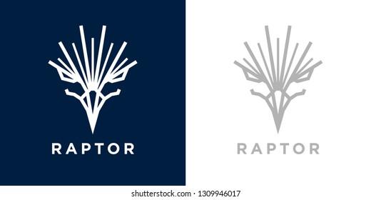 Abstract style eagle logo template design. Predator bird hawk icon. Falcon raptor emblem sign. Vector illustration.