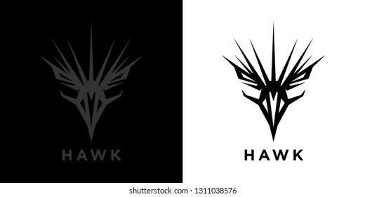 Abstract style eagle logo template design. Predator bird black hawk icon. Falcon raptor emblem sign. Vector illustration.