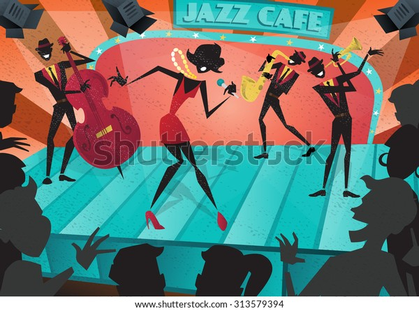 Abstract style illustration of a vibrant Jazz band and super cool lead singer who is striking a stylish pose and playing a musical performance live on stage at a busy nightlife club cafe.