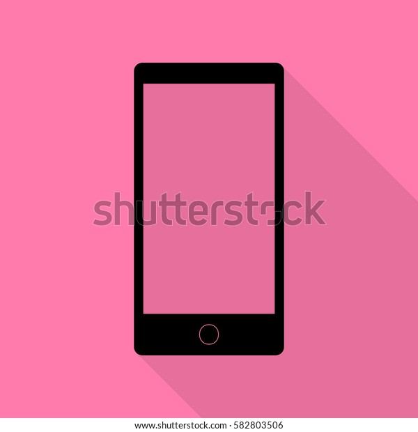 Abstract style modern gadget with blank screen. Template for any content. Black icon with flat style shadow path on pink background.