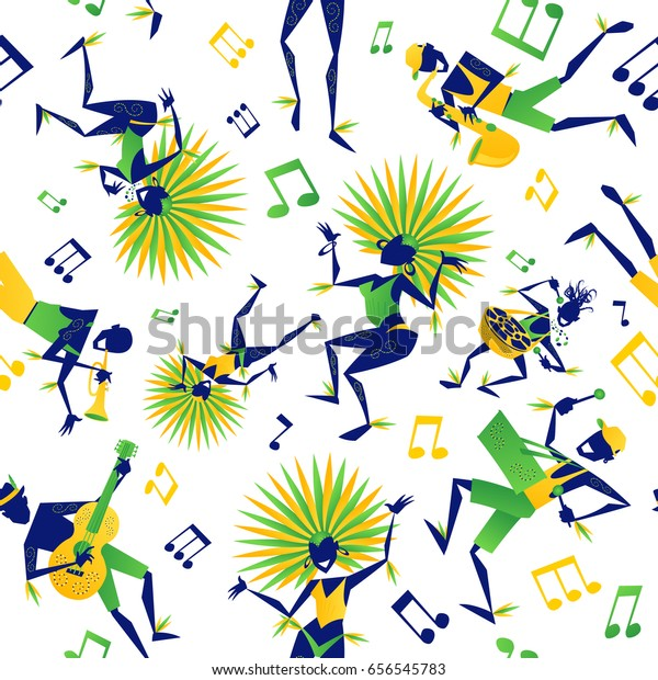 Abstract styled Brazilian Carnival Dancers and Musicians with various Musical notes on a Samba party. Seamless tile for patterns and backgrounds.
