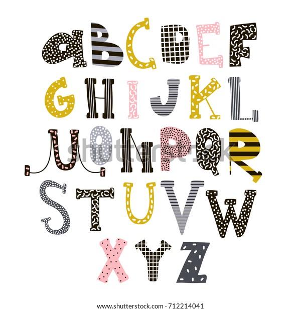 Abstraktes Stylisches Alphabet Schriftart Kreative Kinder
