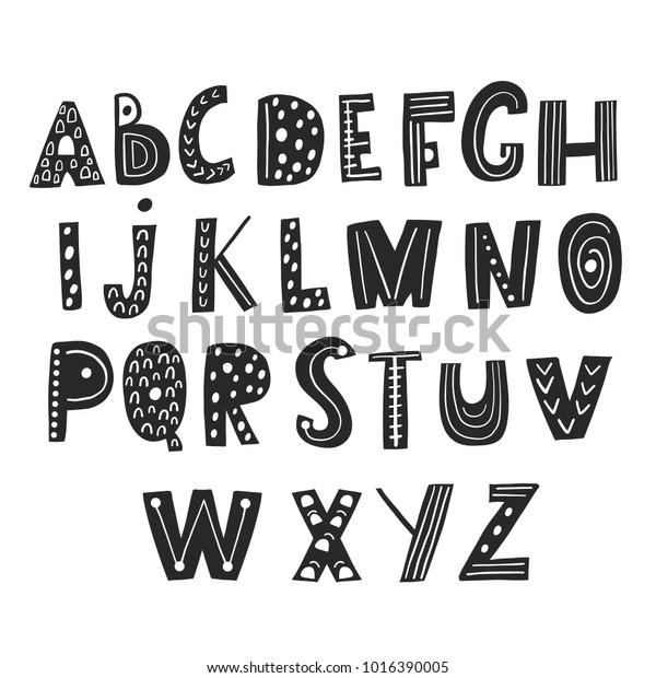 Abstraktes Stylisches Alphabet Im Skandinavischen Stil