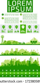 Abstract stylish cityscape infographics. Infographics elements collection with city elements, human and natural resourses and population statistics.