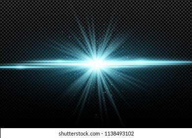 Abstract stylish light effect on a transparent background. Bright glowing star. Bright flares. Blue rays. Explosion. Vector illustration. EPS 10