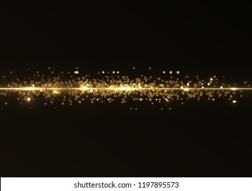 Abstract stylish light effect on a black background. Gold glowing neon line. Golden luminous rounds and glares. luminous trail.