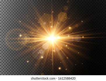 Abstract stylish light effect on a black background. Gold glowing neon line. Golden luminous dust and glares. Flash Light. luminous trail. Vector illustration.