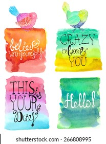 Abstract stylish watercolor background with bird and text, four beautiful backgrounds, Vector