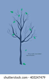 Abstract stylized blue tree for your design. Vector illustration.