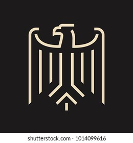 Abstract stylized eagle from coat of arms of Germany. Minimal modern logo on black background.