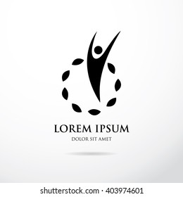 Abstract stylized figure of a man. Logo template design
