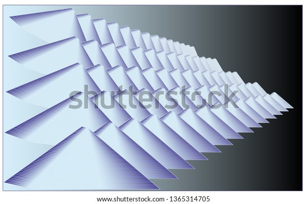 Abstract, stylized pyramids in columns and rows changing size and receding into darkness.