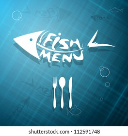 abstract stylized scaled fish menu for restaurant