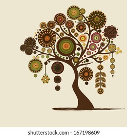Abstract stylized tree and place for text