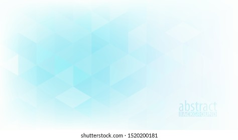 Abstract subtle background with gradient from pale turquoise to white textured by light blue triangles. Minimal vector graphic pattern