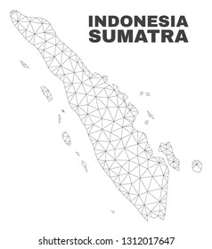 Abstract Sumatra map isolated on a white background. Triangular mesh model in black color of Sumatra map. Polygonal geographic scheme designed for political illustrations.