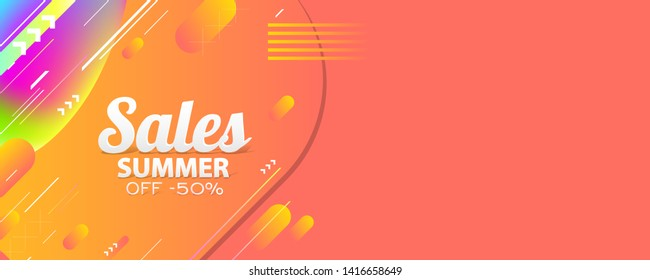 Abstract summer background on living coral color and new art white lines. Banner 3d sale and text