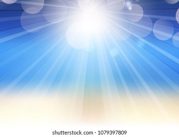 Abstract summer blur background with sunrays and bokeh lights