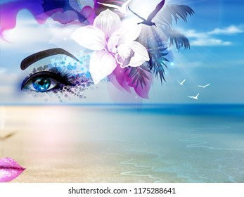 Abstract Summer collage with woman face and blue sea, sky, sunshine and beach.