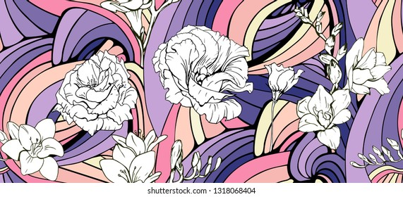 Abstract summer colorful flowing seamless pattern with white tropical flowers.Gorgeous Endless doodle exotic  background.Hand drawn wavy illustration with isolated elements,Freesia, Eustoma, Lisiantus