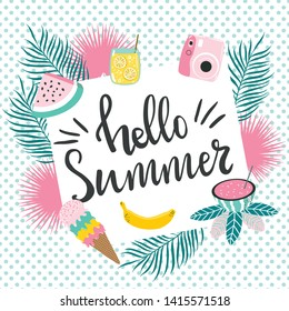 Abstract summer design card good for prints,flyers,banners,invitations,special offer and more. Hand drawn modern lettering Hello Summer and clipart about summer