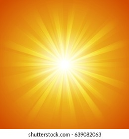 Abstract summer orange color background with sun light Rays