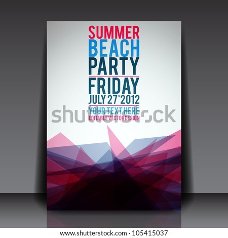 abstract summer party flyer template vector stock vector royalty