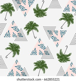 Abstract Summer Pattern With Tropical Palm Leavesumbrellas And Textured Triangles Triangle Grunge
