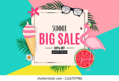 Abstract Summer Sale Background with Palm Leaves, Watermelon, Ice Cream and Flamingo. Vector Illustration EPS10