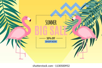 Abstract Summer Sale Background with Palm Leaves and Flamingo. Vector Illustration EPS10