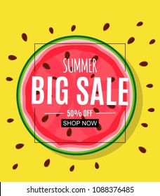 Abstract Summer Sale Background with Watermelon. Vector Illustration EPS10