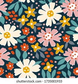 Abstract summer silhouette seamless pattern with leaves and bright flowers on a blue background. Hand drawn fabric, gift wrap, wall art design in vector.