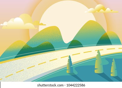 Abstract summer or spring landscape, vector hand drawn illustration. Road in green valley, mountains, hills, trees, clouds and sun on the sky. Nature horizontal background.