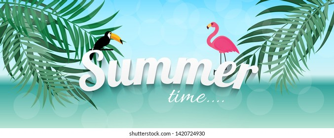 Abstract Summer Time Background with Flamingo and Toucan. Vector Illustration EPS10