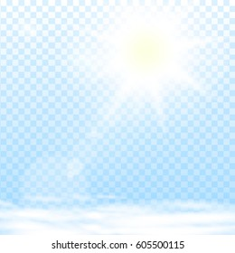 Abstract sun flare effect with clouds on light blue background. Vector eps10 illustration