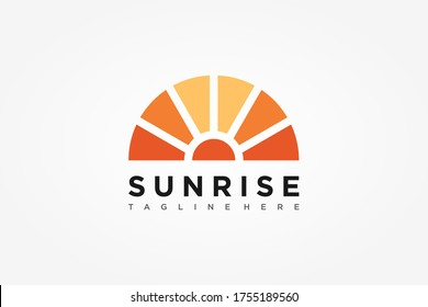 Abstract Sun Logo. Vintage Sun Icon with Rays isolated on White Background. Usable for Business and Nature Logos. Flat Vector Logo Design Template Element.