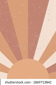 Abstract Sun. Minimalist geometric wall art. Abstract landscape for boho aesthetic interior. Home decor wall print. Soft pink, terracotta colors with mustard hues. Contemporary Sun vector wall print