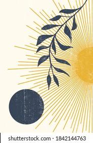 Abstract sun moon leaves print boho minimalist printable wall art geometric abstract sunset print bohemian art work, vector