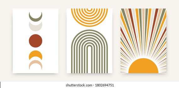 Abstract sun moon poster set. Contemporary minimalist backgrounds modern boho style. Mid century wall decor, vector art print.