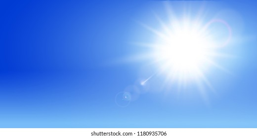 Abstract sun on blue sky - for stock