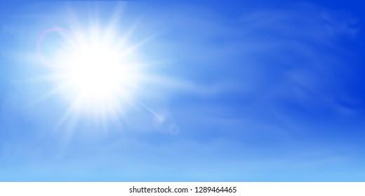 Abstract sun on blue sky - vector for stock