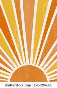 Abstract sun print boho minimalist printable wall art geometric abstract sunset print bohemian art work, vector