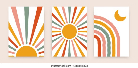 Abstract sun rainbow posters. Boho childish backgrounds, contemporary covers. Geometric vector wall decor