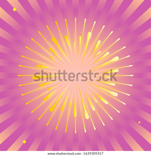 Abstract sun rays yellow beams, star burst with fireworks gold sparkles, sunset background holiday card decoration comic, birthday cake, valentine's day sale, mothers, women's day, success vector card