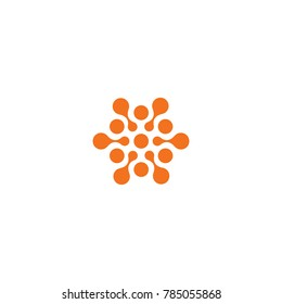 Abstract sun, related circles orange color logo. New technology vector symbol.